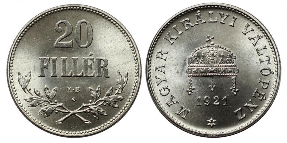 20 fillér 1921 KB. ARTEX utánveret