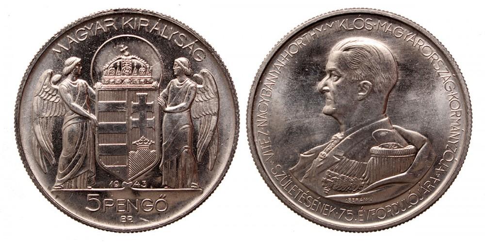 Horthy 5 pengő 1943 utánveret