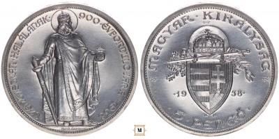 5 pengő 1938 UP