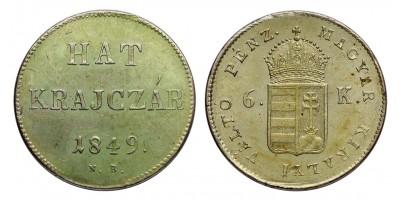 Szabadságharc 6 krajcár 1849 NB.