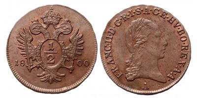 I.Ferenc 1/2 krajcár 1800 A