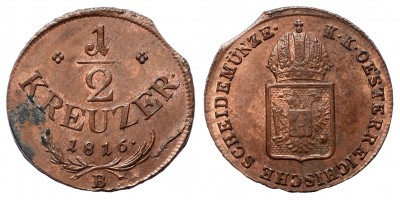 I.Ferenc 1/2 krajcár 1816 B
