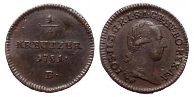 II.József 1/4 krajcár 1781 B